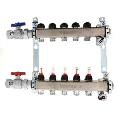 "6-Loop 1-1/4"" Stainless Steel Radiant Heat Manifold Assembly w/ Flow Meter Product Image"