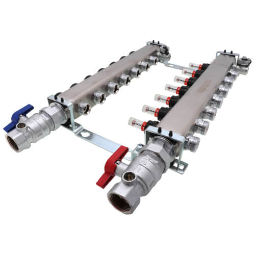 """7-Loop 1-1/4"""" Stainless Steel Radiant Heat Manifold Assembly w/ Flow Meter Product Image"""