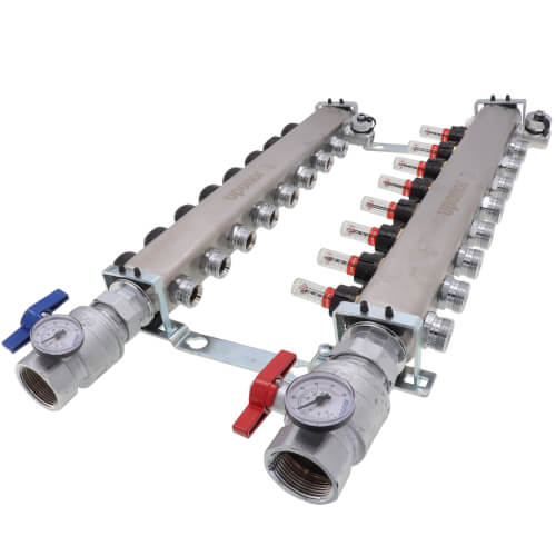 """8-Loop 1-1/4"""" Stainless Steel Radiant Heat Manifold Assembly w/ Flow Meter Product Image"""