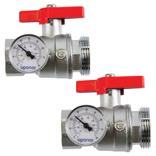 """Stainless Steel Manifold Supply & Return 1-1/4"""" NPT Ball Valve w/ Temperature Gauge (Set of 2) Product Image"""
