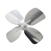 "5-1/2"" Aluminum 4 Blade, 1/4"" Bore CW Intake Hub Fan Blade Product Image"