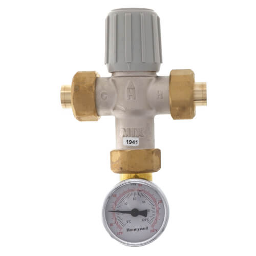 "1/2"" Lead Free Union Sweat Mixing Valve w/ Temperature Gauge (70-145F) Product Image"