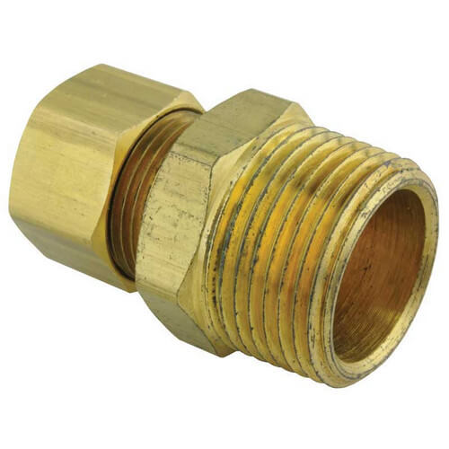 "3/4"" NPT x 1/2 "" Tube Compression Fitting Connector Product Image"
