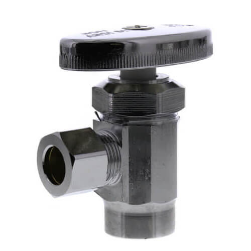 "1/2"" Sweat x 3/8"" OD Comp. Multi Turn Angle Stop Valve, Chrome Plated (Lead Free) Product Image"