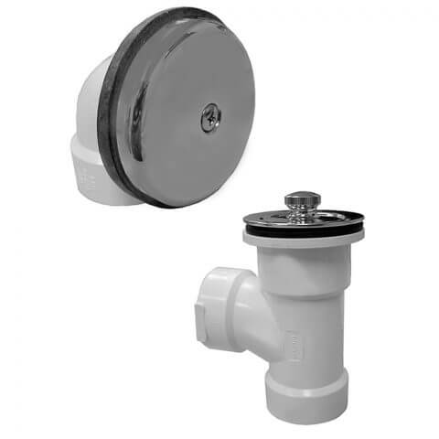 Bath Waste T-Waste Half Kit - CP Lift & Turn Drain w/ 1 Hole Face Plate (PVC) Product Image