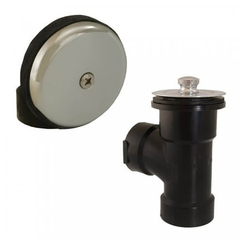 Bath Waste T-Waste Half Kit - CP Brass Lift & Turn Drain w/ 1 Hole Face Plate (ABS) Product Image