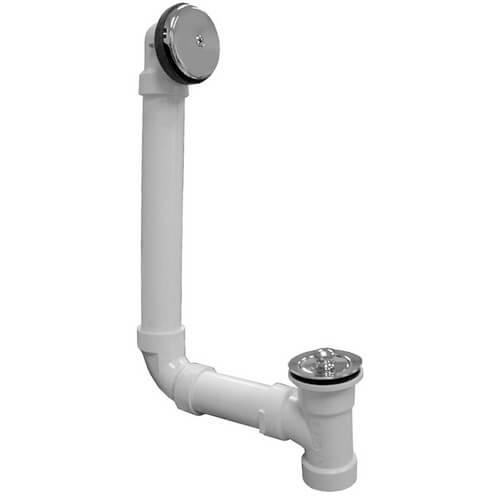 Bath Waste T-Waste Full Kit - CP Brass Lift & Turn Drain w/ 1 Hole Face Plate (PVC) Product Image