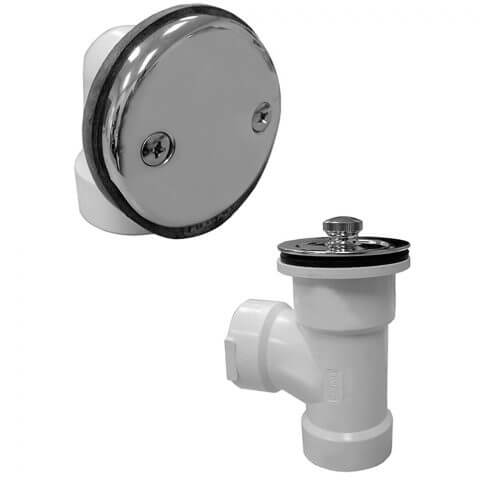 """1-1/2"""" Bath Waste T-Waste Half Kit - CP Lift & Turn Drain w/ 2 Hole Face Plate (PVC) Product Image"""