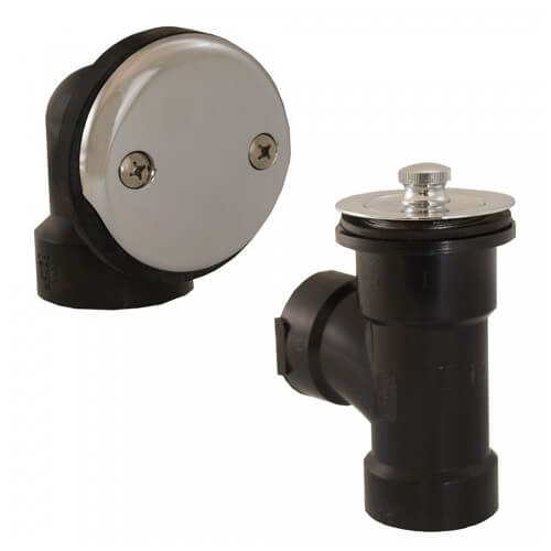 Bath Waste T-Waste Half Kit - CP Lift & Turn Drain w/ 2 Hole Face Plate (ABS) Product Image