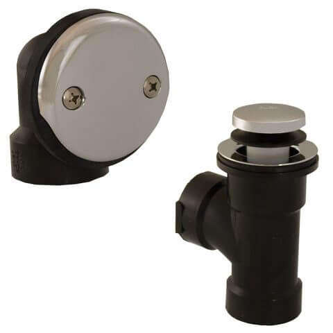 Bath Waste T-Waste Half Kit - CP Toe Pop-Up Drain w/ 2 Hole Face Plate (ABS) Product Image
