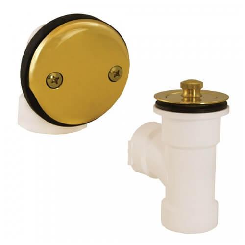 Bath Waste T-Waste Half Kit - PB Lift & Turn Drain w/ 2 Hole Face Plate (PVC) Product Image