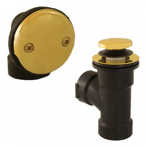 Bath Waste T-Waste Half Kit - PB Toe Pop-Up Drain w/ 2 Hole Face Plate (ABS) Product Image