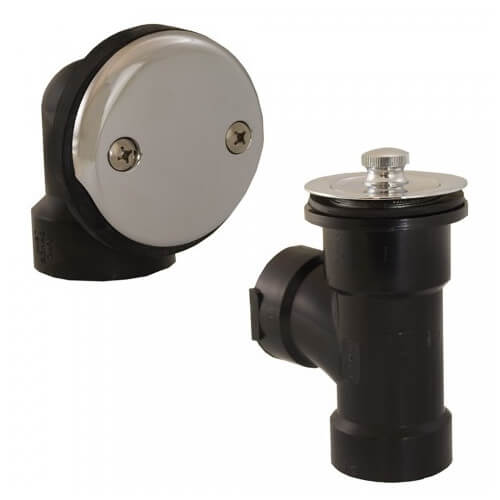 Bath Waste T-Waste Half Kit - CP Friction Lift Drain w/ 2 Hole Face Plate (ABS) Product Image