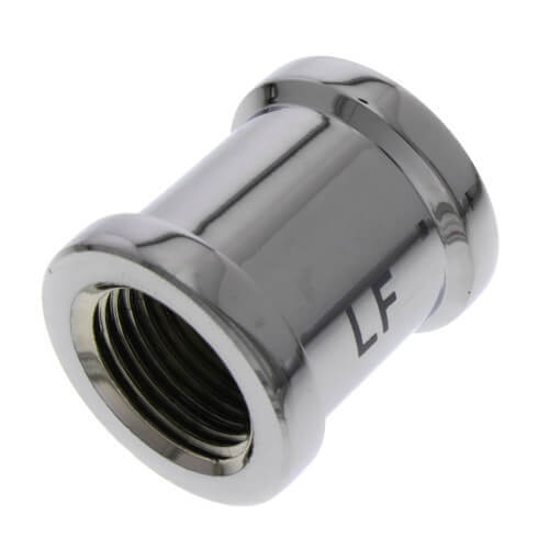 """3/4"""" Chrome Plated Bronze Coupling (Lead Free) Product Image"""