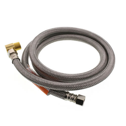"""60"""" Braided Stainless Steel Dishwasher Connector w/ MIP Elbow (3/8"""" x 3/8"""" Compression Thread) Product Image"""