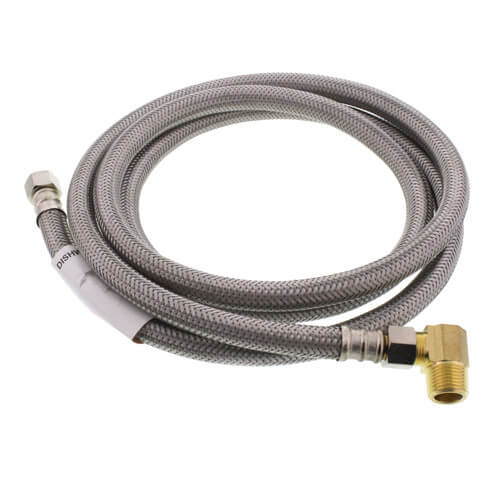 "72"" Braided Stainless Steel Dishwasher Connector w/ MIP Elbow (3/8"" x 3/8"" Compression Thread) Product Image"