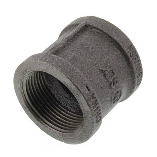 """1-1/4"""" Black Malleable Iron Right & Left Coupling Product Image"""