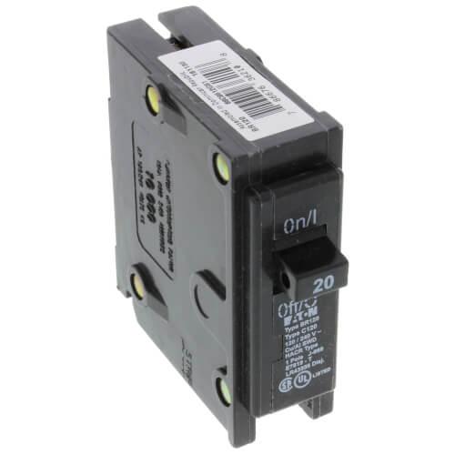 Single Pole Eaton Interchangeable Circuit Breaker (20A, 120/240V) Product Image