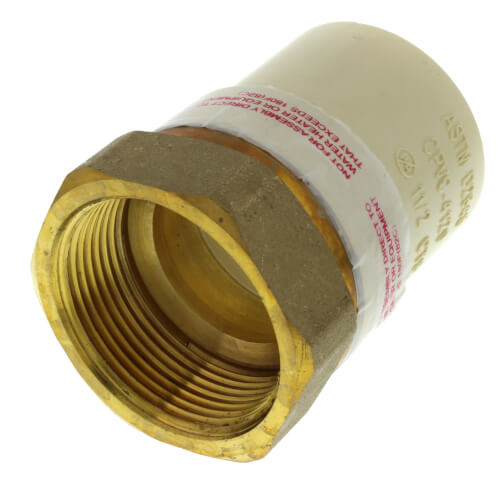 """1-1/2"""" CPVC x Female Brass Adapter (Lead Free) Product Image"""