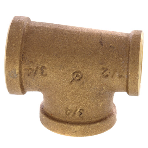 "3/4"" x 1/2"" x 3/4"" Reducing Brass Tee (Lead Free) Product Image"