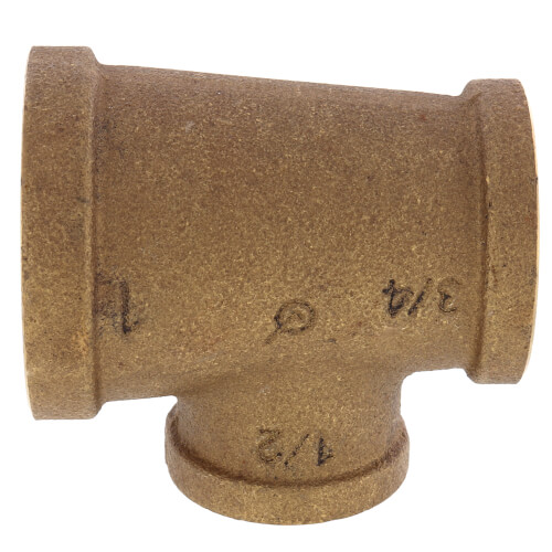 """1"""" x 3/4"""" x 1/2"""" Reducing Brass Tee (Lead Free) Product Image"""