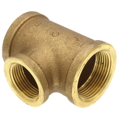 "1-1/4"" x 1-1/4"" x 1"" Reducing Brass Tee (Lead Free) Product Image"