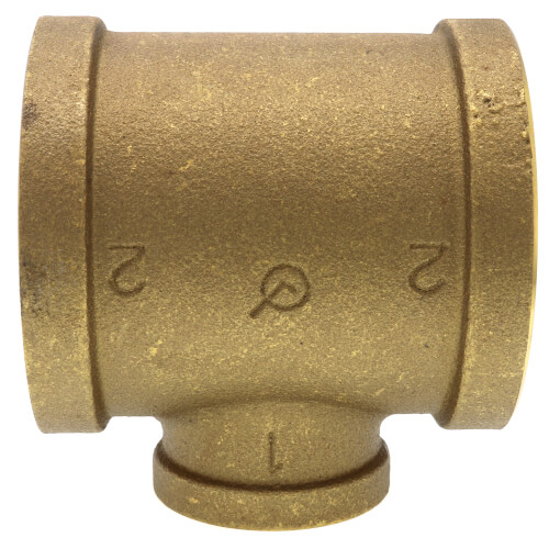 "2"" x 2"" x 1"" Reducing Brass Tee (Lead Free) Product Image"