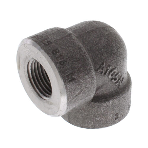 """1/2"""" 3000# A105N Carbon Steel 90° Elbow NPT Product Image"""