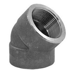 """1"""" 3000# A105N Carbon Steel 45° Elbow NPT Product Image"""