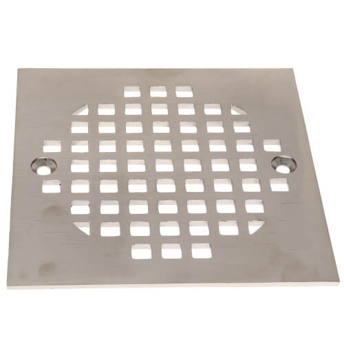 """4-1/4"""" Heavy Duty Square Cast Brass Strainer (Brushed Nickel) Product Image"""