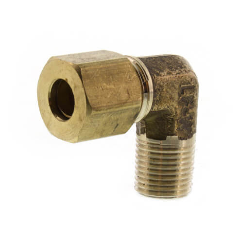 """(69-42) 1/4"""" OD x 1/8"""" MIP Brass Compression Elbow (Lead Free) Product Image"""