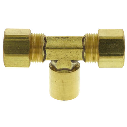"(78-62) 3/8"" OD x 1/8"" FIP Brass Compression Branch Tee (Lead Free) Product Image"