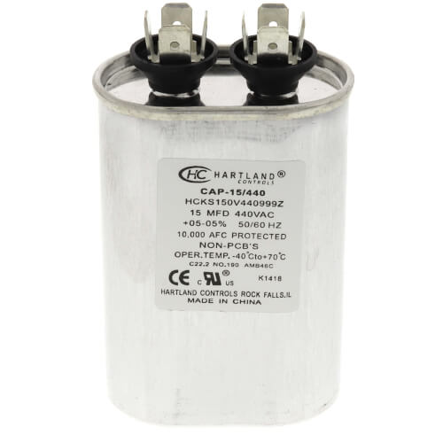 15 MFD Oval Run Capacitor (370/440V) Product Image