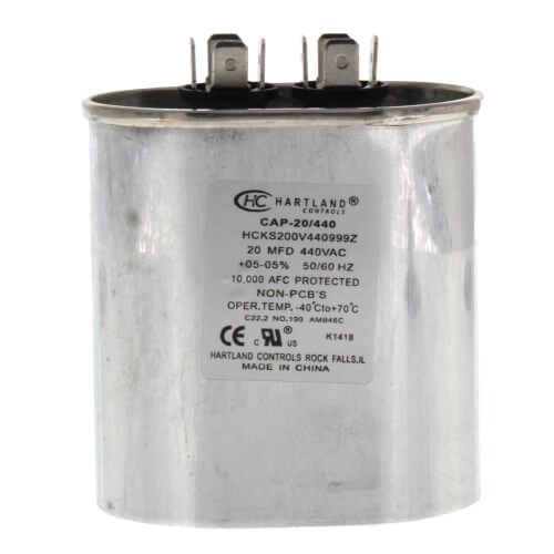 20 MFD Oval Run Capacitor (370/440V) Product Image