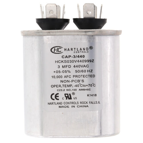 3 MFD Oval Run Capacitor (370/440V) Product Image