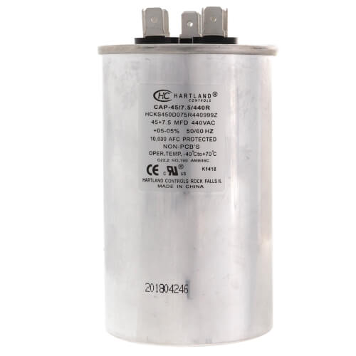 45/7.5 MFD Round Dual Motor Run Capacitor (370/440V) Product Image
