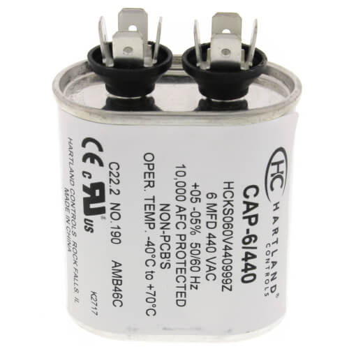 6 MFD Oval Run Capacitor (370/440V) Product Image