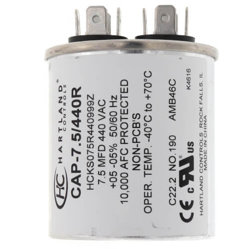 7.5 MFD Round Run Capacitor (370/440V) Product Image