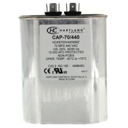 70 MFD Oval Run Capacitor (370/440V) Product Image