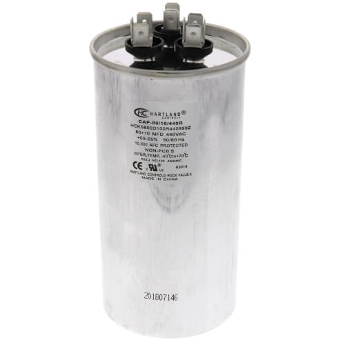 80/10 MFD Round Dual Motor Run Capacitor (370/440V) Product Image