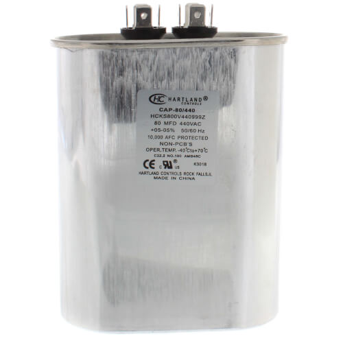 80 MFD Oval Run Capacitor (370/440V) Product Image
