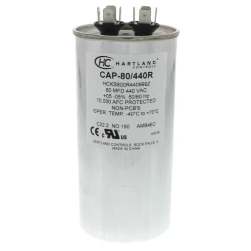 80 MFD Round Run Capacitor (370/440V) Product Image