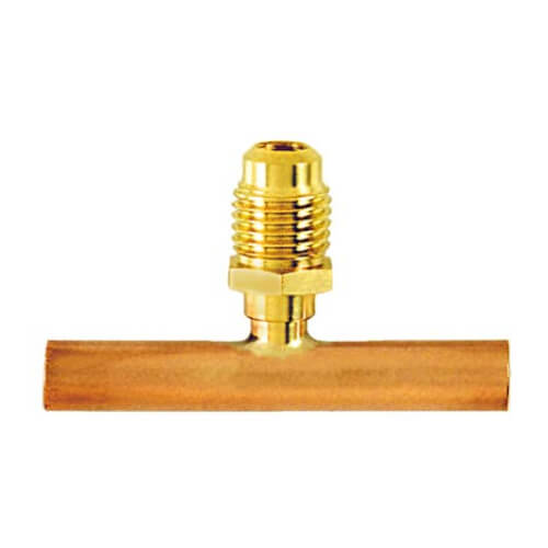 """1/4"""" Flare Copper Access Tee w/ 5/16"""" OD x 2"""" Copper Tube, w/ 1/4"""" Flare Brass Wrench Cap & Valve Core (2 Pack) Product Image"""