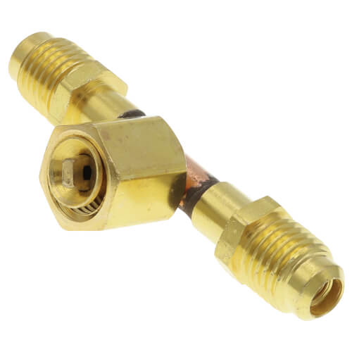 """1/4"""" M. Flare Access x 1/4"""" F. Flare Tee, w/ Depressor Tip On Branch w/ Valve Core (Pack of 2) Product Image"""