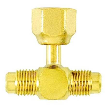 """1/4"""" M. Flare Access x 1/4"""" F. Flare Tee, w/ Depressor Tip on Branch, w/ Valve Core, All Brass (Pack of 2) Product Image"""