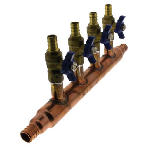 """3/4"""" PEX Crimp Copper Manifold w/ 1/2"""" PEX Crimp Ball Valves, Lead Free (4 Outlets) Product Image"""
