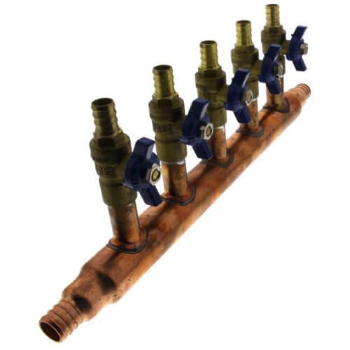 """3/4"""" PEX Crimp Copper Manifold w/ 1/2"""" PEX Crimp Ball Valves, Lead Free (5 Outlets) Product Image"""