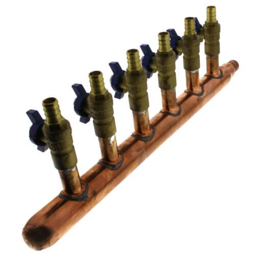 "3/4"" PEX Crimp x Closed Copper Manifold, w/ 1/2"" PEX Crimp Ball Valves, Lead Free (6 Outlets) Product Image"