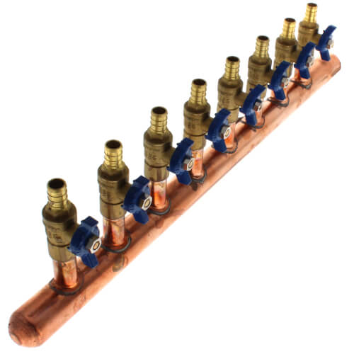 "1"" Female Sweat x Spin Closed (Left) Copper Manifold, 1/2"" PEX Crimp Ball Valves, Lead Free (8 Outlets) Product Image"