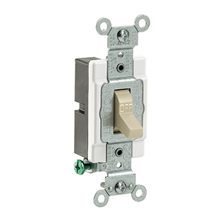 Single-Pole Toggle Light Switch, Commercial Grade - Ivory (120/277V) Product Image